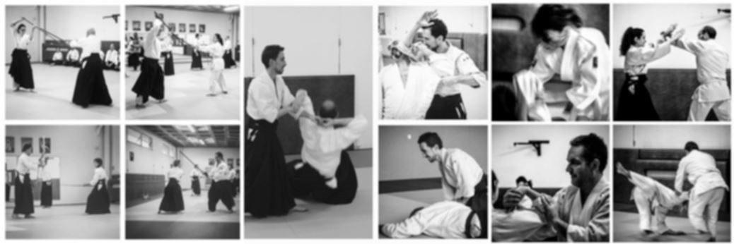 Montage de photos montrant des cours d'aikido au dojo d'arcueil
